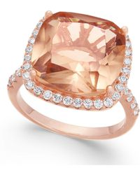Macy's - Synthetic Morganite & Cubic Zirconia Halo Ring In 14k Rose Gold-plated Sterling Silver - Lyst