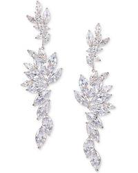 Nina - Silver-tone Layered Cubic Zirconia Drop Earrings - Lyst