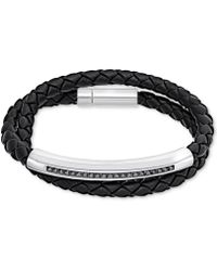 Swarovski - Men's Stainless Steel Crystal Braided Leather Wrap Bracelet - Lyst