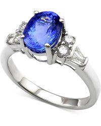 Macy's - Tanzanite (2 Ct. T.w.) And Diamond (1/3 Ct. T.w.) Ring In 14k White Gold - Lyst