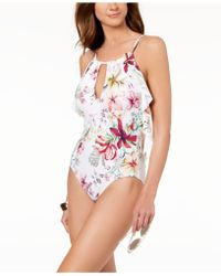 Carmen Marc Valvo - Floral Printed High-neck Ruffled Scoop-back One-piece Swimsuit - Lyst