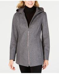 London Fog - Petite Hooded Coat - Lyst