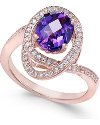 Macy's - Amethyst (5/8 Ct. T.w.) & Diamond (1/3 Ct. T.w.) Ring In 14k Rose Gold - Lyst