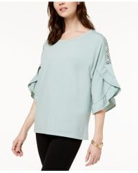 Style & Co. - Ruffled Crochet-inset Top - Lyst