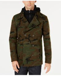 American Rag - Layered Camo Peacoat, Created For Macy's - Lyst