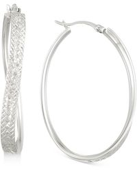Macy's - Textured Wavy Oval Hoop Earrings In 14k White Gold Over Sterling Silver - Lyst