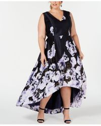 f8d7967b Xscape Plus Size Printed High-low Gown in Blue - Lyst