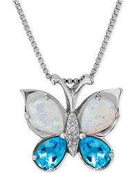 Macy's - Multi-gemstone (1-5/8 Ct. T.w.) & Diamond Accent Butterfly Pendant Necklace In Sterling Silver - Lyst