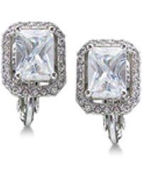 Carolee - Silver-tone Crystal Clip-on Stud Earrings - Lyst