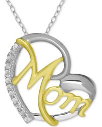 """Macy's - Diamond Mom Heart 18"""" Pendant Necklace (1/10 Ct. T.w.) In Sterling Silver & 18k Gold-plate - Lyst"""