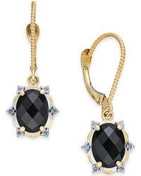 Macy's - Onyx (8 X 6mm) & Diamond (1/10 Ct. T.w.) Oval Drop Earrings In 14k Gold - Lyst