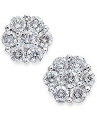 Macy's - Diamond Cluster Stud Earrings (1/3 Ct. T.w.) In 14k White Gold - Lyst