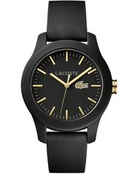 Lacoste - Women's 12.12 Black Silicone Strap Watch 38mm - Lyst