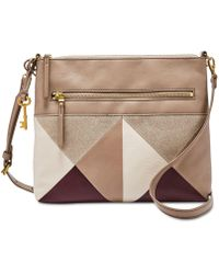 Fossil - Fiona Patchwork Leather & Suede Crossbody - Lyst