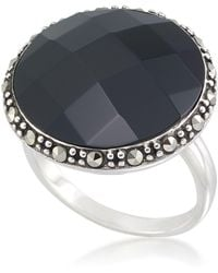 Macy's - Faceted Onyx (18 X 5mm) & Marcasite Ring In Sterling Silver - Lyst
