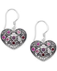 Macy's - Marcasite & Crystal Heart Drop Earrings In Fine Silver-plate - Lyst