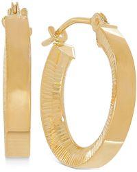 Macy's - Bark Finish Hoop Earrings In 10k Gold, 2/3 Inch - Lyst