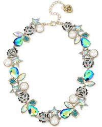"Betsey Johnson - Two-tone Mixed Stone & Imitation Pearl Tiger Collar Necklace, 16"" + 3"" Extender - Lyst"