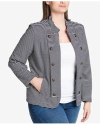 Tommy Hilfiger - Plus Size Striped Double-breasted Jacket - Lyst