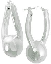 Macy's - Sculptural Sphere Hoop Earrings In Sterling Silver - Lyst