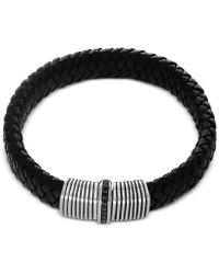 Effy Collection | Men's Black Sapphire (1/3 Ct. T.w.) Black Leather Woven Bracelet In Sterling Silver | Lyst