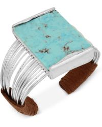 Robert Lee Morris - Silver-tone Blue Stone Suede Wrapped Cuff Bracelet - Lyst