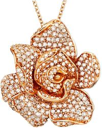Effy Collection | Diamond Flower Pendant Necklace In 14k Rose Gold (1/3 Ct. T.w.) | Lyst