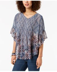 Style & Co. - Printed Pleated Top, Created For Macy's - Lyst