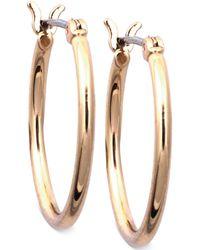 Nine West - Earrings, Gold-tone Small Tube Hoop Earrings - Lyst