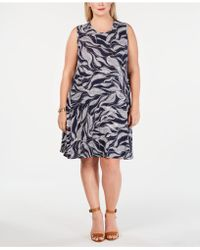 Style & Co. Plus Size Border-print Swing Dress, Created For Macy\'s ...