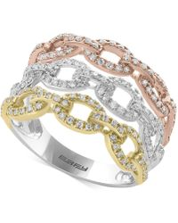 Effy Collection - Diamond Tri-color Linked Ring (3/4 Ct. T.w.) In 14k Yellow, White & Rose Gold - Lyst