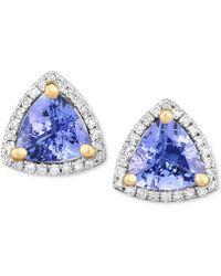 Macy's - Tanzanite (1-3/8 Ct. T.w.) & Diamond (1/8 Ct. T.w.) Stud Earrings In 14k White Gold - Lyst