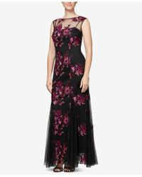 Alex Evenings - Embroidered Illusion Gown, Regular & Petite - Lyst