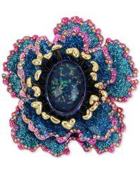 Betsey Johnson - Gold-tone Multi-stone & Glitter Flower Pin - Lyst