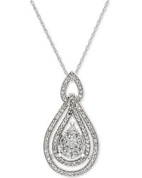 Macy's - Diamond Openwork Teardrop Pendant Necklace (1/2 Ct. T.w.) In 14k White Gold - Lyst