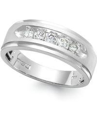 Macy's - Men's Five-stone Diamond Ring In 10k White Gold (1/4 Ct. T.w.) - Lyst