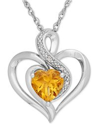 Macy's - Citrine (1-1/10 Ct. T.w.) And Diamond Accent Heart Pendant Necklace In Sterling Silver - Lyst