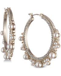 Marchesa - Gold-tone Cubic Zirconia & Imitation Pearl Hoop Earrings - Lyst