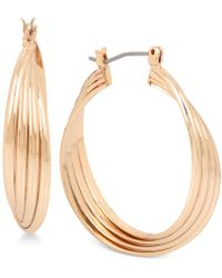 Kenneth Cole - Rose Gold-tone Medium Multi-row Twisted Hoop Earrings - Lyst