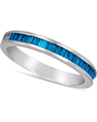 Macy's - Sterling Silver Ring, Blue Diamond Baguette Ring (1/2 Ct. T.w.) - Lyst