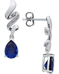 Macy's - Lab Created Sapphire (2-5/8 Ct. T.w.) & Diamond Accent Drop Earrings In Sterling Silver - Lyst