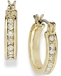 Charter Club | 14k Gold Plated Crystal Mini Hoop Earrings | Lyst