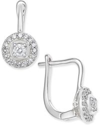 Macy's - Diamond Circle Leverback Earrings (1/5 Ct. T.w.) In 14k White Or Yellow Gold - Lyst