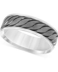 Macy's - Engraved Scalloped Band In 14k White Gold - Lyst