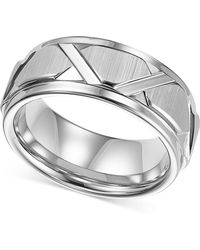 Triton - Men's White Tungsten Ring, Bright Cuts Wedding Band - Lyst