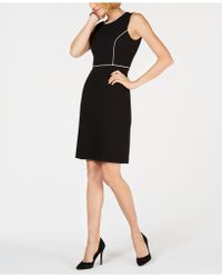 Kasper - Crepe Contrast-trim Dress - Lyst