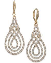 INC International Concepts - Gold-tone Pavé Open Saturn Drop Earrings - Lyst