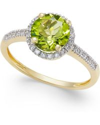 Macy's - Peridot (1-1/3 Ct. T.w.) And. Diamond (1/8 Ct. T.w.) Ring In 14k Gold - Lyst