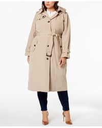 London Fog - Plus Size Hooded Trench Coat - Lyst