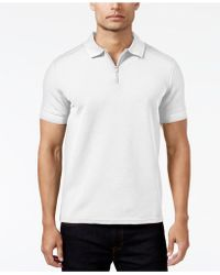 Vince Camuto - Men's Waffle-knit Quarter-zip Polo - Lyst